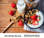 homemade granola yogurt and... | Shutterstock . vector #589039283