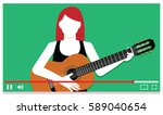 vector young musician... | Shutterstock .eps vector #589040654