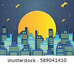 night cityscape with full moon  ... | Shutterstock .eps vector #589041410