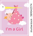 baby girl shower card | Shutterstock .eps vector #589042574