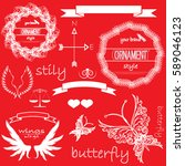 vintage set  decor | Shutterstock .eps vector #589046123