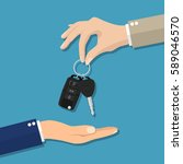 car seller hand giving key to... | Shutterstock . vector #589046570