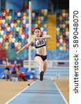 Small photo of ISTANBUL, TURKEY - DECEMBER 24, 2016: Athlete Tugba Danismaz Triple Jumping during Turkish Athletic Federation Indoor Athletics Record Attempt Races