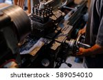 asians craftsman being machined ... | Shutterstock . vector #589054010