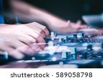 moscow   7 august 2016  dj play ... | Shutterstock . vector #589058798