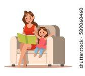 mom and daughter reading a book.... | Shutterstock .eps vector #589060460