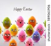 easter card design. set of... | Shutterstock .eps vector #589061906