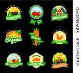 organic food label set. farm... | Shutterstock .eps vector #589063040