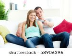 affectionate man embracing his ... | Shutterstock . vector #58906396