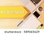 recruitment   linear text arrow ...   Shutterstock . vector #589065629