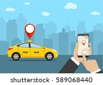 hands with smartphone and taxi...   Shutterstock . vector #589068440
