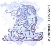 zodiac sign aquarius. young man ... | Shutterstock .eps vector #589072349