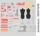 sewing workshop equipment big...   Shutterstock .eps vector #589074698