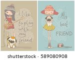 vector cards with fashion girls ... | Shutterstock .eps vector #589080908