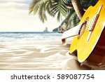 relax on the beach with a hot... | Shutterstock . vector #589087754