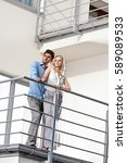full length of young couple... | Shutterstock . vector #589089533