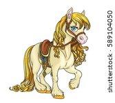 cute horse with golden mane... | Shutterstock .eps vector #589104050