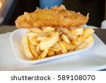 battered cod and chips in chip... | Shutterstock . vector #589108070