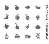 set of  fruit vector icons.... | Shutterstock .eps vector #589129766