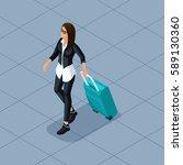 trendy people isometric vector... | Shutterstock .eps vector #589130360