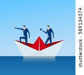business team on paper ship... | Shutterstock .eps vector #589134374