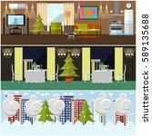 vector set of banners with home ... | Shutterstock .eps vector #589135688