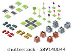 set isometric road and vector... | Shutterstock .eps vector #589140044