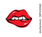 vector woman lips icon... | Shutterstock .eps vector #589142060