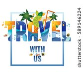 travel with us   banner ... | Shutterstock .eps vector #589146224