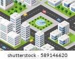 isometric 3d illustration city... | Shutterstock .eps vector #589146620