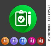 clipboard checklist icon. flat... | Shutterstock .eps vector #589149134