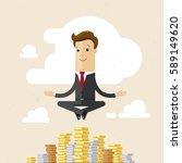businessman  yoga and money.... | Shutterstock .eps vector #589149620