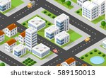 isometric 3d illustration city... | Shutterstock .eps vector #589150013