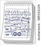 arrows set on notebook... | Shutterstock .eps vector #589153124