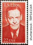 Small photo of Milan, Italy - January 31, 2017: Thomas Stern Eliot on american postage stamp