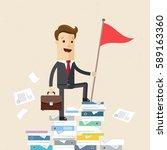 businessman climbed a mountain... | Shutterstock .eps vector #589163360