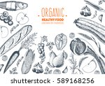 healthy food frame vector... | Shutterstock .eps vector #589168256