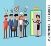creative people stand in line... | Shutterstock .eps vector #589168889