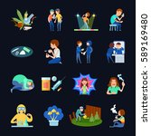 narcotic isolated icons set... | Shutterstock .eps vector #589169480