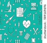 medical blue seamless pattern ... | Shutterstock .eps vector #589169696