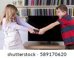 siblings fighting over the... | Shutterstock . vector #589170620