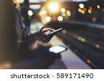 enjoying travel. young woman... | Shutterstock . vector #589171490