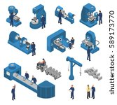isometric set of workers near... | Shutterstock .eps vector #589173770