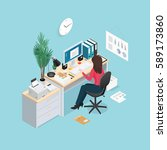 colored 3d office workplace... | Shutterstock .eps vector #589173860