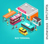 bus terminal with building... | Shutterstock .eps vector #589173956