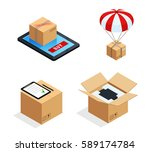 set of four isolated isometric... | Shutterstock .eps vector #589174784