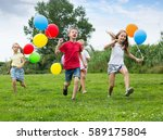 four friendly glad kids happily ... | Shutterstock . vector #589175804