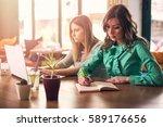 female coworkers working... | Shutterstock . vector #589176656