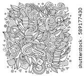 cartoon cute doodles hand drawn ... | Shutterstock .eps vector #589177430