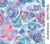azure floral vector pattern  ... | Shutterstock .eps vector #589179836